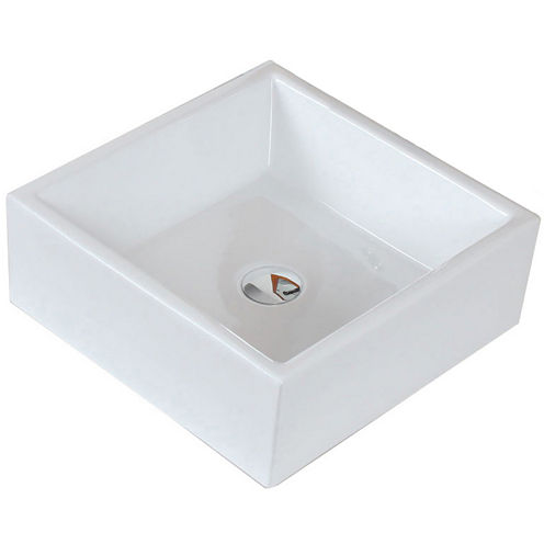 American Imaginations Ceramic Square Vessel Sink