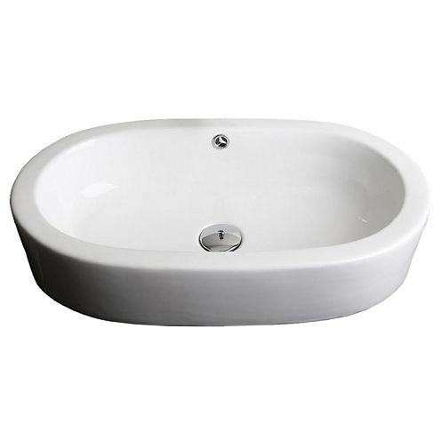 American Imaginations Transition Ceramic Oval Vessel Sink