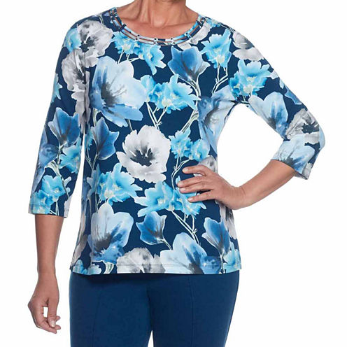 Alfred Dunner Arizona Sky 3/4 Sleeve Crew Neck Floral T-Shirt-Womens