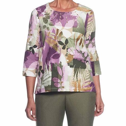 Alfred Dunner Palm Dessert 3/4 Sleeve Crew Neck T-Shirt-Womens