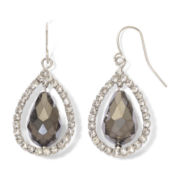 Gray Glass Teardrop Earrings with Pavé Crystals