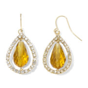 Brown Glass Teardrop Earrings with Pavé Crystals