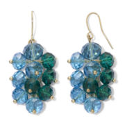Hematite & Teal Bead Grapevine Earrings