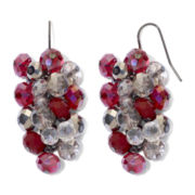Hematite & Red Bead Grapevine Earrings