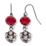 Hematite & Red Fireball Dual-Drop Earrings