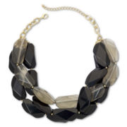Gold-Tone & Tonal Gray Stone 3-Row Necklace