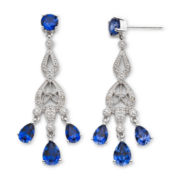 Lab-Created Blue Sapphire & Diamond Accent Chandelier Earrings