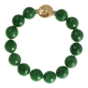 ROX by Alexa Color-Treated Green Jade Bead Stretch Bracelet