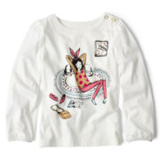 Joe Fresh™ Long-Sleeve Graphic Henley Tee - Girls 1t-5t