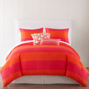 JCPenney Home™ 300tc Pink Rugby Stripe Duvet Cover & Accessories