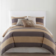 JCPenney Home™ 300tc Gray Rugby Stripe Duvet Cover & Accessories