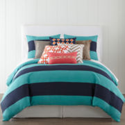 JCPenney Home™ 300tc Blue Rugby Stripe Duvet Cover & Accessories