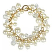 love struck™ Gold-Tone Glass & Simulated Pearl Shaky Bracelet