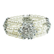 love struck™ Silver-Tone Glass & Simulated Pearl Multi-Strand Bracelet
