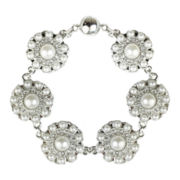 love struck™ Silver-Tone Crystal & Simulated Pearl Bracelet