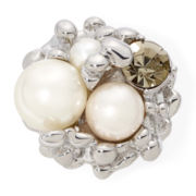 Aris by Treska Simulated Pearl Cluster Stretch Ring