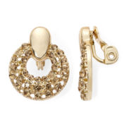 Monet® Topaz-Colored Gold-Tone Doorknocker Clip-On Earrings
