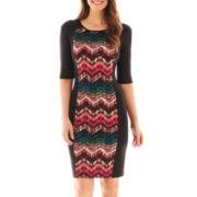 Sangria Elbow-Sleeve Scuba Knit Dress