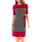 R&K Originals® 3/4-Sleeve Side-Tie Striped Sheath Dress