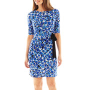 R&K Originals® 3/4-Sleeve Side-Tie Floral Sheath Dress