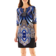 Studio 1® 3/4-Sleeve Print Sheath Dress