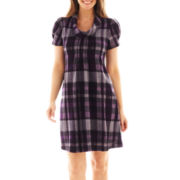 Jessica Howard Short-Sleeve Cowlneck Plaid Dress