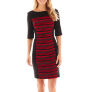 Danny & Nicole® 3/4-Sleeve Print Panel Dress