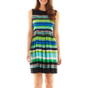 Studio 1® Sleeveless Striped Fit-and-Flare Dress