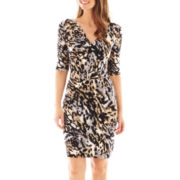 Studio 1® 3/4-Sleeve Animal Print Wrap Dress