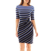 Danny & Nicole® 3/4-Sleeve Side-Ruched Striped Dress