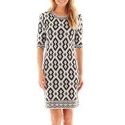 Trulli Elbow-Sleeve Tribal Print Dress