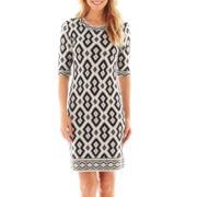 Trulli Elbow-Sleeve Tribal Print Dress