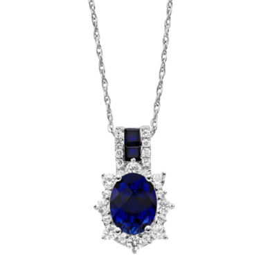 jcpenney.com | Lab-Created Blue & White Sapphire Sterling Silver Pendant Necklace