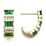 1/10 CT. T.W. Diamond & Genuine Emerald 10K Gold Earrings
