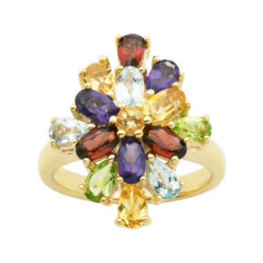 jcpenney.com | Multi-Gemstone 18K Yellow Gold Over Sterling Silver Cluster Ring