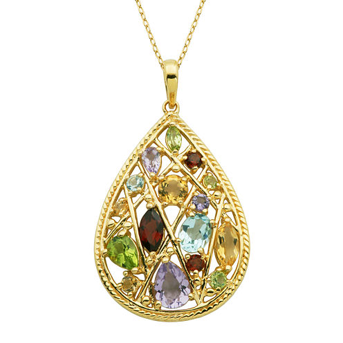 Multi-Gemstone 18K Yellow Gold Over Sterling Silver Cluster Pendant Necklace