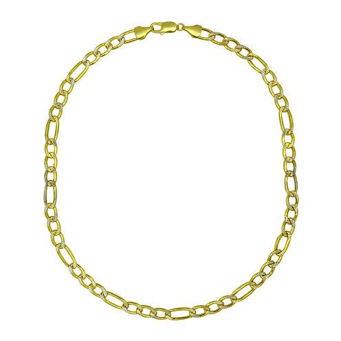 "10K Yellow Gold 8½"" Pavé Hollow Figaro Chain Bracelet"