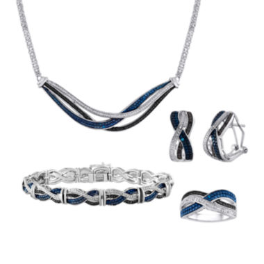jcpenney.com | 1/5 CT. T.W. White & Color-Enhanced Black & Blue Diamond 4-pc. Jewelry Set