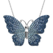 Blue Crystal Sterling Silver Butterfly Pendant Necklace