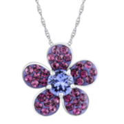 Purple Crystal Sterling Silver Flower Pendant Necklace