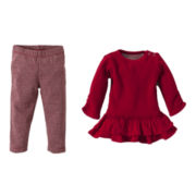 Burt's Bees Baby™ 2-pc. Thermal Ruffle Dress and Leggings Set – Girls newborn-24