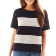 jcp™ Short-Sleeve Quilted Sweatshirt
