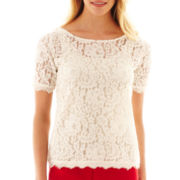 jcp™ Short-Sleeve Allover Lace Top