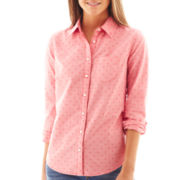 jcp™ Long-Sleeve Print Oxford Shirt