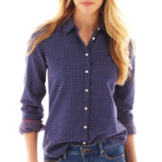 jcp™ Long-Sleeve Relaxed-Fit Print Shirt