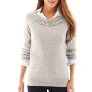 jcp™ 3/4-Sleeve Embellished Sweater