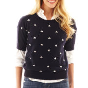 jcp™ Short-Sleeve Allover Embellished Sweater