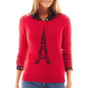 jcp™ 3/4-Sleeve Fine-Gauge Eiffel Tower Sweater