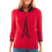 jcp™ 3/4-Sleeve Fine-Gauge Eiffel Tower Sweater