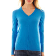 jcp™ Long-Sleeve Fine-Gauge V-Neck Sweater - Tall
